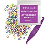 """Prairie Horse Supply 3/8"""" Inch Orthodontic Elastic Rubber Bands, 100 Pack, Neon, Medium Force 3.5 Oz, Small Rubberbands For Making Bows, Dreadlocks, Dreads, Doll Hair, Braids, Horse Mane, Horse Tail, Fix Tooth Gap In Teeth, Top Knots + Free Elastic Placer For Braces"""