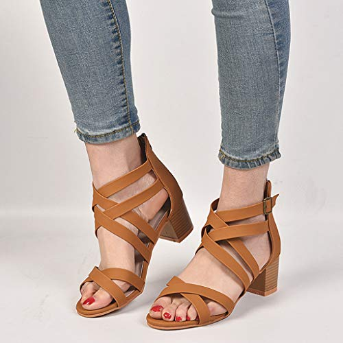 CCOOfhhc Womens Gladiator Open Toe Heeled Sandals Criss Cross Strap Ankle Wrap Zipper Sandals Summer Beach Thongs Sandals Brown by CCOOfhhc (Image #5)