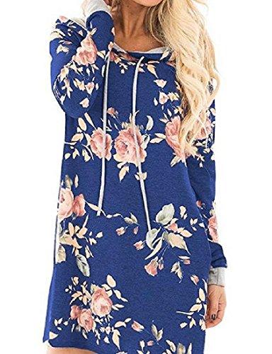 Hooded Sleeve Womens Coolred Long Long Dress Blue Pocket Drawstring Sleeve EI7IqwB