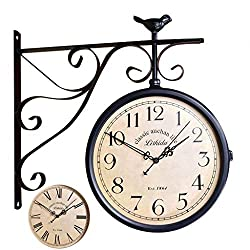 Double Sided Wall Clock, Vintage Antique-Look Wall-Mounted Clock with Waterproof Cover for Indoor & Garden, Hanging Décor, Black (Color : C)