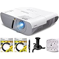 ViewSonic 3300 Lumens XGA HDMI Network Projector (PJD6250L) with 2x 6ft High Speed HDMI Cable, LCD/Lens Cleaning Pen, Ceiling Bracket for Projector & SurgePro 750 Joule 6-Outlet Surge Adapter