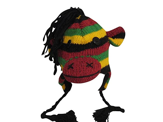 5efb949ee95 Image Unavailable. Image not available for. Colour  RASTA MONKEY Mohawk  Sport 100% Wool Animal Hat Fleece Lined Beanie Ski Cap