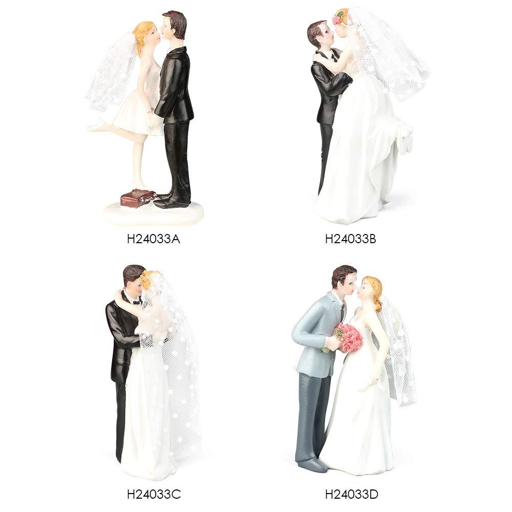 Anself Cake Topper Figurine Resin Dolls for Wedding Decor Bride Groom Pattern TRTAZ11A