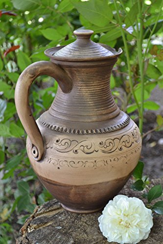 Beautiful Handmade Designer Large Clay Water Jug With Handle And Lid 3 L
