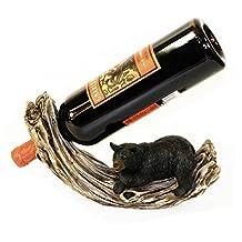 10 Inch Rocking Log with Black Bear Figurine Wine Bottle Holder
