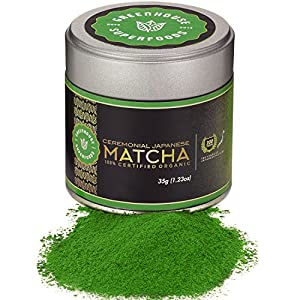 Matcha Green Tea Powder - Dual Certified Organic - Ceremonial Grade (35g) - True Japanese 1st Harvest - 200 Years History by GREENHOUSE SUPERFOODS [1.23oz]