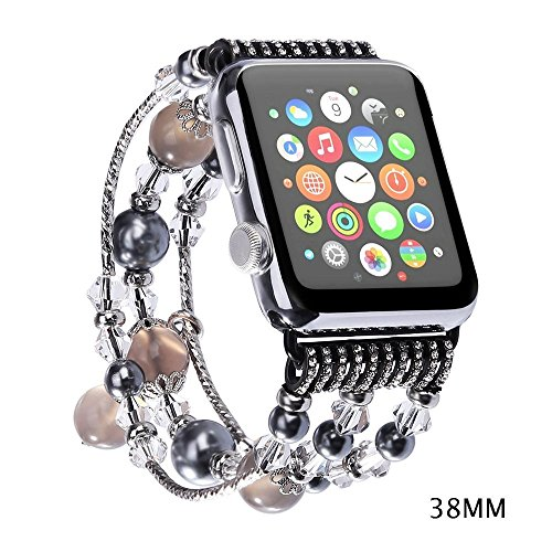 Newest Apple Watch 3/2/1 Replacement Band, Fashion Holiday Gift Beaded Bracelet, Cool Birthday Wedding New Years Gift for Women Girls, Apple Watch Series 38mm/42mm