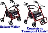 RED CONVERTIBLE ROLLATOR WALKER And TRANSPORT CHAIR IN ONE UNIT! 300 Pounds Weight Capacity. 2 For Price of One! Allows Mobility Challenged Loved Ones To AMBULATE Or BE PUSHED Safely By Caregivers.