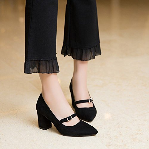 Carolbar Women's Solid Color Charm High Heel Pointed Toe Court Shoes Black b33idcGFl