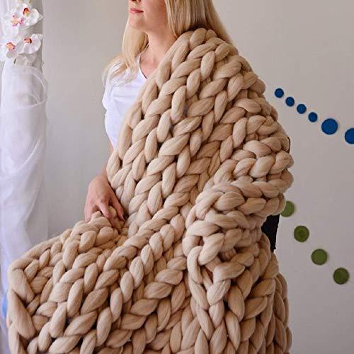 - AoSiFu Chunky Knitted Blanket Handmade Merino Wool Arm Knitting Throw for Home Decor Giant Bed Sofa Throw Khaki 24