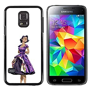 Paccase / SLIM PC / Aliminium Casa Carcasa Funda Case Cover - 50S Dress Purple Woman Black Hair Fashion - Samsung Galaxy S5 Mini, SM-G800, NOT S5 REGULAR!