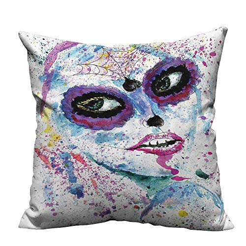 YouXianHome Sofa Waist Cushion Cover Grunge Halloween Lady with Sugar Skull Make Up Creepy Dead Gothic Woman Artsy Decorative for Kids Adults(Double-Sided Printing) 26x26 inch]()