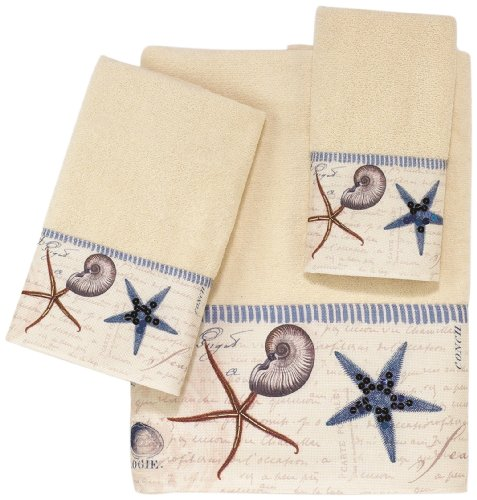 Avanti Linens Antigua  Embellished 4-Piece Decorative Towel Set Ivory