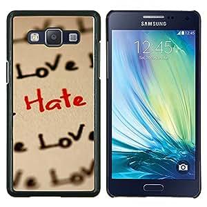 KLONGSHOP // Cubierta de piel con cierre a presión Shell trasero duro de goma Protección Caso - Amor Patrón Hate - Samsung Galaxy A5 A5000 //