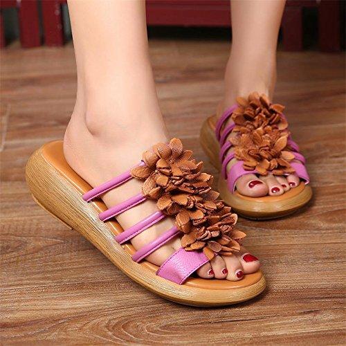 Zapatillas Flores Antiguas Para De Amarillo Las Piel Zapatos Maneras Restaurar Tacones Cuero Verano Gtvernh Mujer f4wCfq