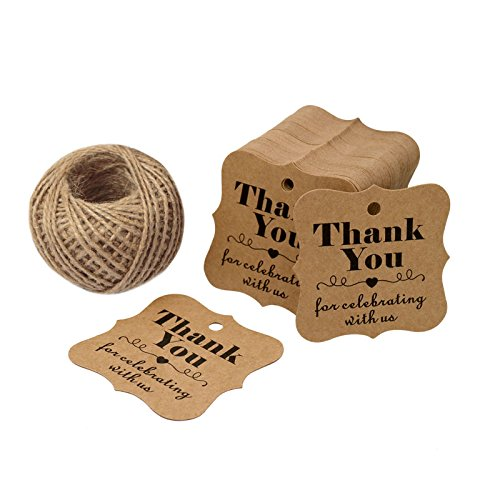 Baby Shower Tags for Favors,Thank You for Celebrating with Us Paper Gift Tags,100 Pcs Kraft Thank You Tags for Wedding Party Favors with 100 Feet Natural Jute Twine (Brown) ()