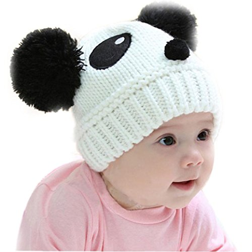 vestitiy Clearance! Cute Toddlers Baby Girls Boys Stretchy Warm Winter Panda Cap Kids Knitted Hat Beanie (White) (Panda Wool)