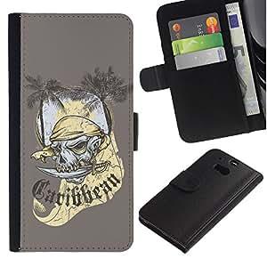 Billetera de Cuero Caso del tirón Titular de la tarjeta Carcasa Funda del zurriago para HTC One M8 / Business Style The Carribean Pirate Skull Ghost
