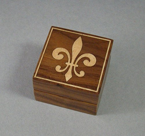 Ring box of Solid Walnut with Fleur De Lis inlay. Free Engraving. RB21 ()