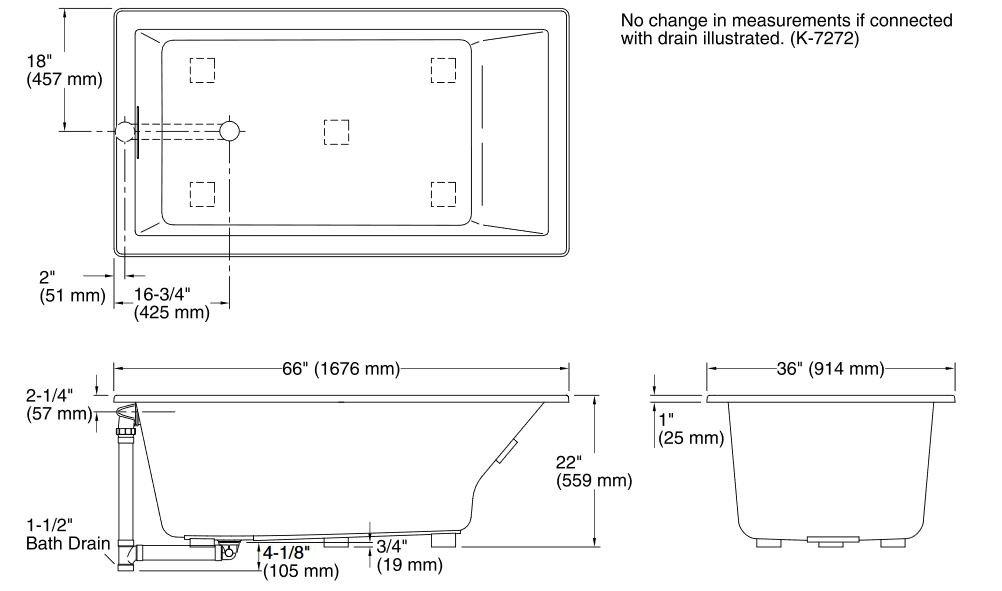 Amazon.com: Kohler k-1136 – 0 resaltan 5.5-foot acrílico ...
