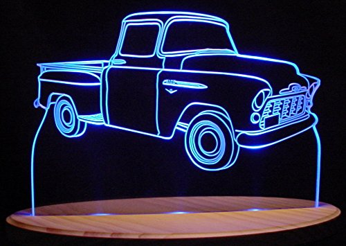 Antique Led Sign - 1955 Chevy Pickup Truck Acrylic Lighted Edge Lit 13