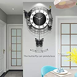 Fleble Modern Metal Wall Clock Pendulum Chime Silent Non Ticking Simple Black Butterfly Design Clocks Home Decor for Living Room Bedroom Dining Room