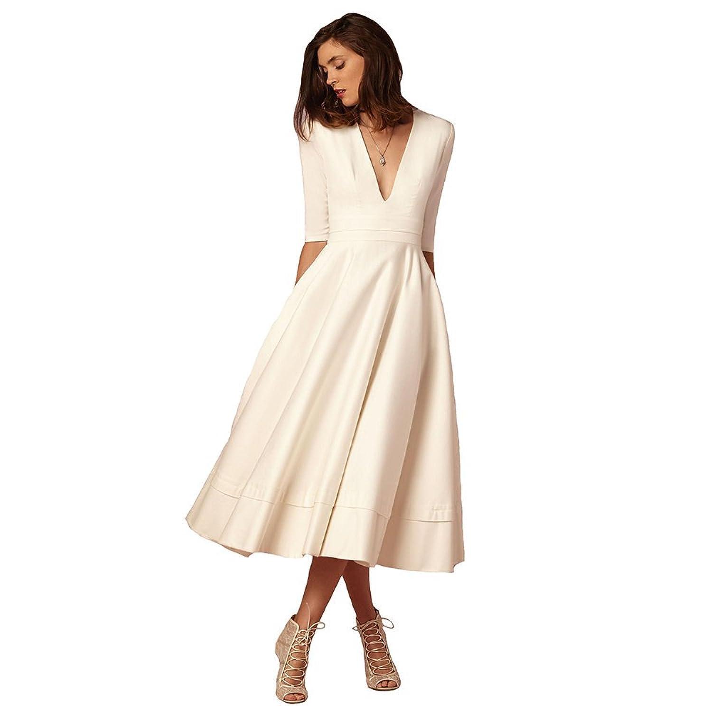 Engerla Women's Satin Deep V-Neck 1/2 Sleeves Ruffled Tea Length A-Line Evening Dress Party Gown