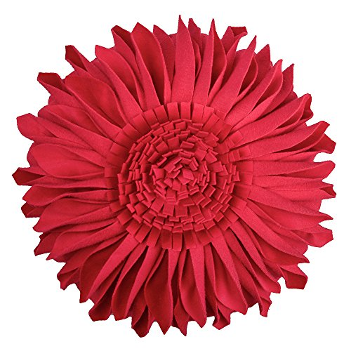 JW 3D Sunflower Accent Pillow Covers Handmade Floral Decorative Round Canvas Cushion Cases Home Sofa Car Bed Room Office Chair Decor Pillowcases with Filler Velvet Flowers 12 Inch Red Sunflower Accent