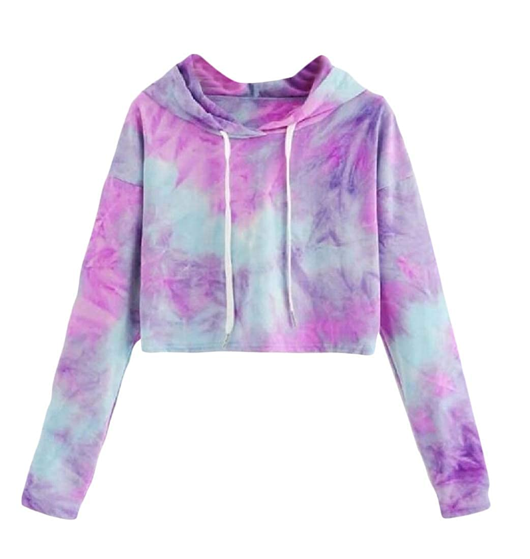 Joe Wenko Womens Fashion Pullover Crop Top Hooded Tie Dye Sweatshirts