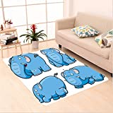 Nalahome Custom carpet l Kids Nursery Boys Girls Baby Room Clumsy Cartoon Cute Elephant Image Print Baby Blue and White area rugs for Living Dining Room Bedroom Hallway Office Carpet (36''x118'')