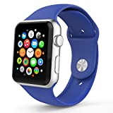 Apple Watch Band, HuanlongTM New Soft Silicone Sport Style Replacement Iwatch Strap for Apple Wrist Watch (Royal Blue 38mm S/M)