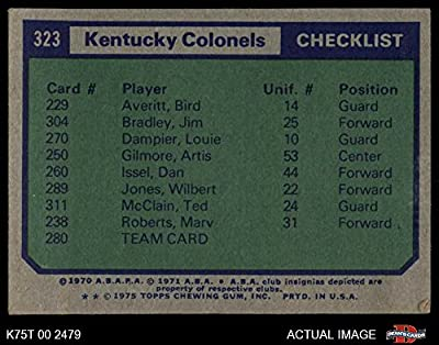 1975 Topps # 323 Kentucky Colonels Colonels (Basketball Card) Dean's Cards 3 - VG Colonels