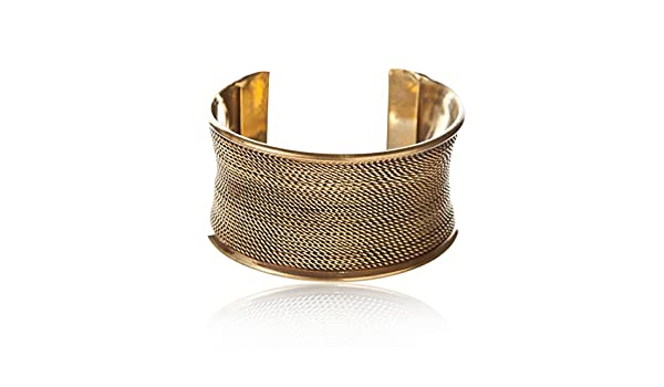 81stgeneration Women's Brass Gold Tone Rope Adjustable Bangle Cuff Bracelet