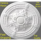 Ceiling Rose Helena Resin Strong Light Design Not Polystyrene Easy Fix 66cm by Copleys