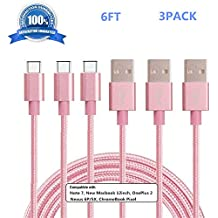 USB Type C Cable, SUPZY Durable Nylon Braided High Speed 2.0 Type C to Type A Cable for Google Pixel/Pixel XL, Nexus 6p/5X,LG G6, Samsung Galaxy S8,S8 plus, HTC 10 etc.3pack 6ft pink