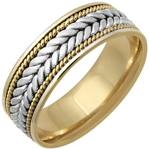 18k Two Tone - 18K Two Tone (White and Yellow) Gold Braided Fern Style Men's Comfort Fit Wedding Band (7mm) Size-11c1