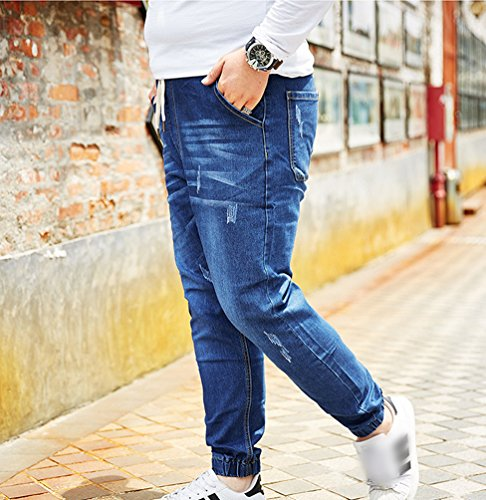 Pantaloni Yiiquan Pocket Biker Taglia Grande Stampa Uomo Ricamo Azzurro Jeans qqxZtwTgH