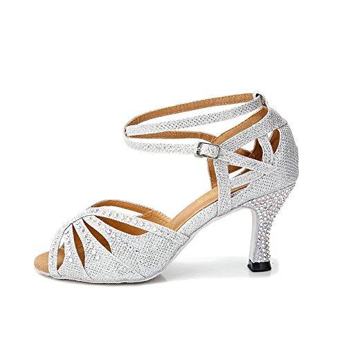 TTdancewear Frauen Strass Ballroom Dance Schuhe Latin Salsa Performance Tanzschuhe Silber-2,5-Zoll-Heels