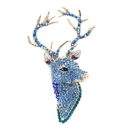 Crystal Broach - SEPBRIDALS Blue Rhinestone Crystal Christmas Deer Head Brooch Pins Broach Women Jewelry FA3181
