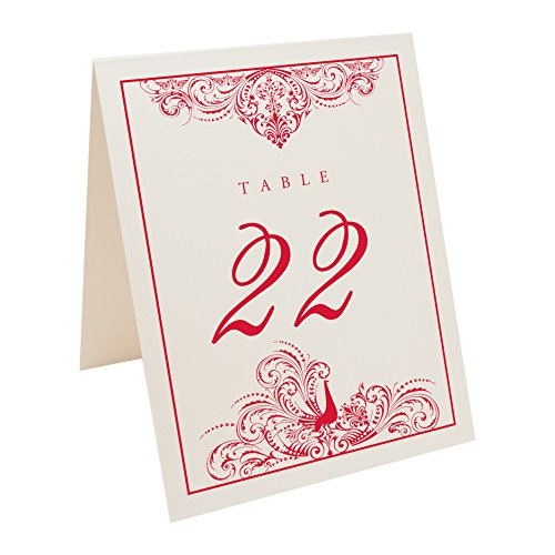 Peacock Flourish Table Numbers, Champagne, Ruby Red, Numbered 1 through 15 (Champagne Ruby)