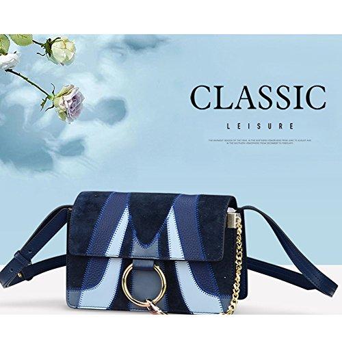 Clutch Blue Blocking Womens Strap Borsa Vintage per Shoulder pelle Ladies Normia Vacchetta Rita in Color Borse Single qPCR4U