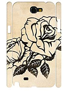 3D Print Elegant Rose Pattern Flower Design Handmade Cell Phone Protective Cover Case for Samsung Galaxy Note 2 N7100