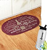 Gift Included- Cotton Braided Winery Wine Kitchen Floor Rug Oval + FREE Bonus Water Bottle by Home Cricket Homecricket