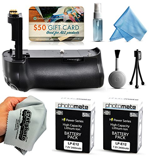 Multi Power Battery Grip + (2 Pack) Ultra High Capacity LP-E12 LPE12 Replacement Battery (1300mAh) for Prints + Lens Cleaning Kit for Canon EOS Rebel SL1 100D DSLR SLR Digital Camera by 47th Street Photo