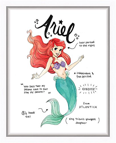 Ariel Diary Sketch Watercolor Style Framed Printed Canvas 13.25W x 16.25H x (Disney Princess Framed Art)