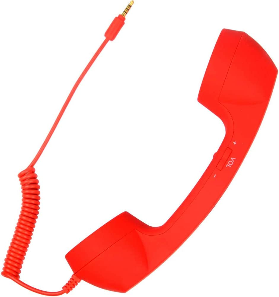 CellCase Vintage Retro 3.5mm Telephone Handset Cell Phone Receiver Mic Microphone Speaker for iPhone iPad Mobile Phones Cellphone Smartphone (Red)