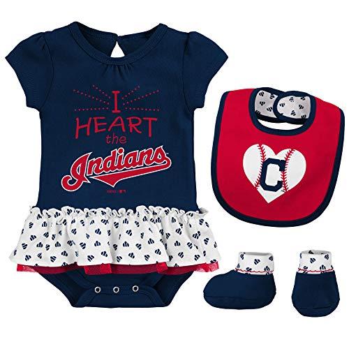 (Outerstuff MLB Newborn & Infants Girls Baseball Girl Creeper, Bib, Bootie Set (3/6 Months, Cleveland Indians))