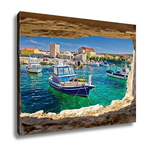 (Ashley Canvas, Razanac Turquoise Waterfront Through Stone Window Dalmatia Croatia, Kitchen Bedroom Dining Living Room Art, 24x30, AG6007465)