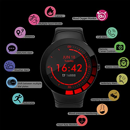TMYIOYC Fitness Tracker, Smart Watch IP68 Waterproof Smart Bracelet with Blood Oxygen, Heart Rate Monitor, Blood Pressure, Pedometer, Calorie Counter, Vibrating Alarm, Activity Tracker for Men & Women