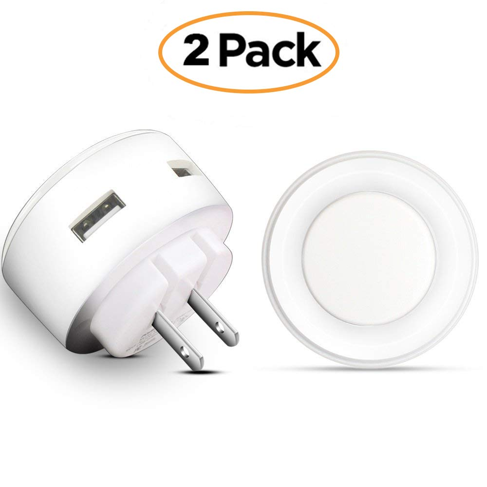 Wall Charger POWERIVER LED Sensation Night Light 2A Glow Smart Charger Station Dual USB Power Adapter Travel or Home for Apple Mobile Phone iPad Android PSP ETC (Circle)
